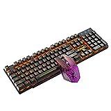 yuwei 2.4g Wireless Gaming-Tastatur und Maus-Set Bunte LED-Atem-Licht-Tastatur