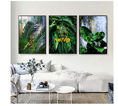 Zhaoyangeng 3 Stuk Goud Letter Groene Blad Planten Abstract Muur Kunst Canvas Schilderij Posters en Prints Muurdecoratie All You Love Art Unframed 50X70Cm