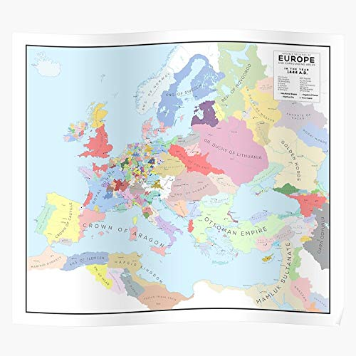 Map History Europe in of 1444 Historical Eu4 | Home Decor Wall Art Print Poster