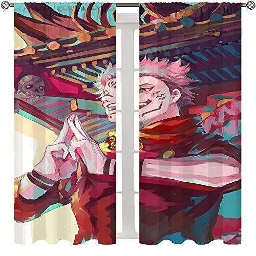 Printed Curtains for Bedroom Anime Jujutsu Kaisen Itadori Yuji and Ryomen Sukuna Chic Cloth bedroom livingroom Curtain W72xL84 Inch