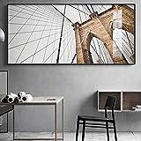 Impresiones en lienzo HD Pinturas artísticas de arquitectura en blanco y negro Carteles de construcción de puentes modernos Cuadros de pared Decoración para el hogar 50x100cmx1pcs sin marco