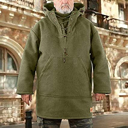 Winter Thicken Warm Fleece Waterproof /& Windproof Leisure Jacket Males Warm Soft Mid-length Wool Anorak with a kangaroo pocket for Casual Skiing Mens Wool Heavy Coat Fitness