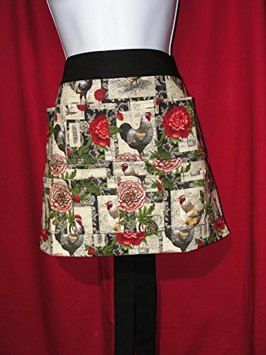 Handmade Egg Gathering & Collecting Apron Rooster Collage with flowers 10 Pocket Apron (Pockets Hold Eggs) Made in the USA!