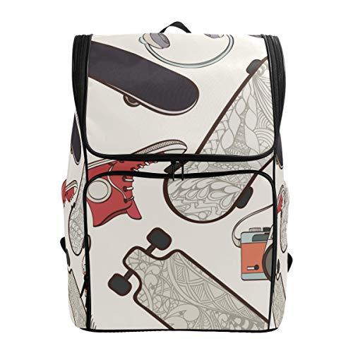 LISNIANY Rucksack,Skateboard Nahtlose Muster Skateboard Hippie Elemente,Computertasche,Schultasche,große Kapazität