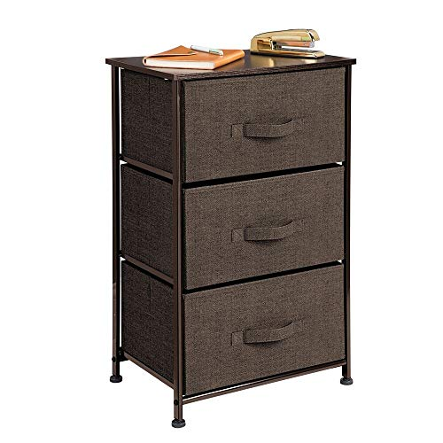 mDesign Vertical Dresser Storage Tower - Sturdy Steel Frame, Wood Top, Easy Pull Fabric Bins - Organizer Unit for Bedroom, Hallway, Entryway, Closets - Textured Print - 3 Drawers - Espresso Brown