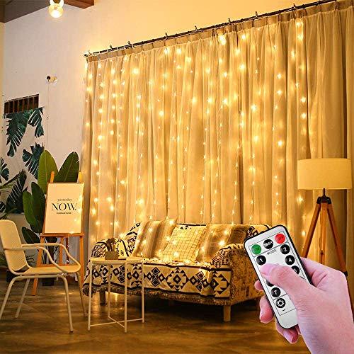 ShinePick LED Lichtervorhang, 3m x 3m 300 LED Lichterwand mit Fernbedienung Timer 8 Modi Wasserdicht Lichterkette Weihnachtsbeleuchtung für Innen Garten Party Hochzeit Schlafzimmer Deko(Warmweiß)