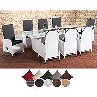 CLP Sevilla XL I - Conjunto de muebles de jardín (ratán plano, 8 sillas ajustables, mesa de cristal, 240 x 102 x 75 cm)