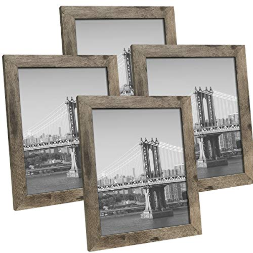 Hap Tim 8x10 Picture Frame Carbonized Black Wooden Photo Frames for Tabletop Display and Wall Decoration, Set of 4 (CWH007-8x10-CB)