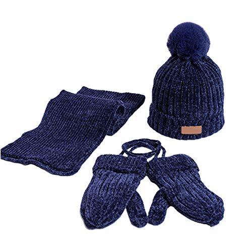 N\A KY-BORED - Juego de 3 bufandas de invierno para niños y niñas, gorro y guantes, bufanda de punto, bufanda de invierno cálido, conjunto de 6 meses a 6 años