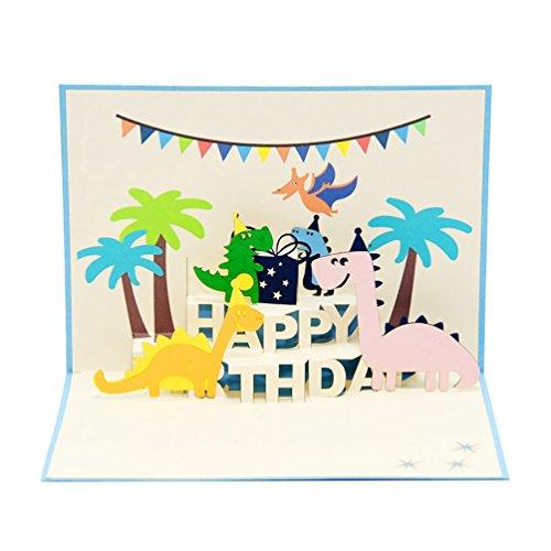 Favour Pop Up Glückwunschkarte zum Geburtstag. Ein filigranes Kunstwerk, dass sich beim Öffnen als Dino-Party entfaltet. TB094