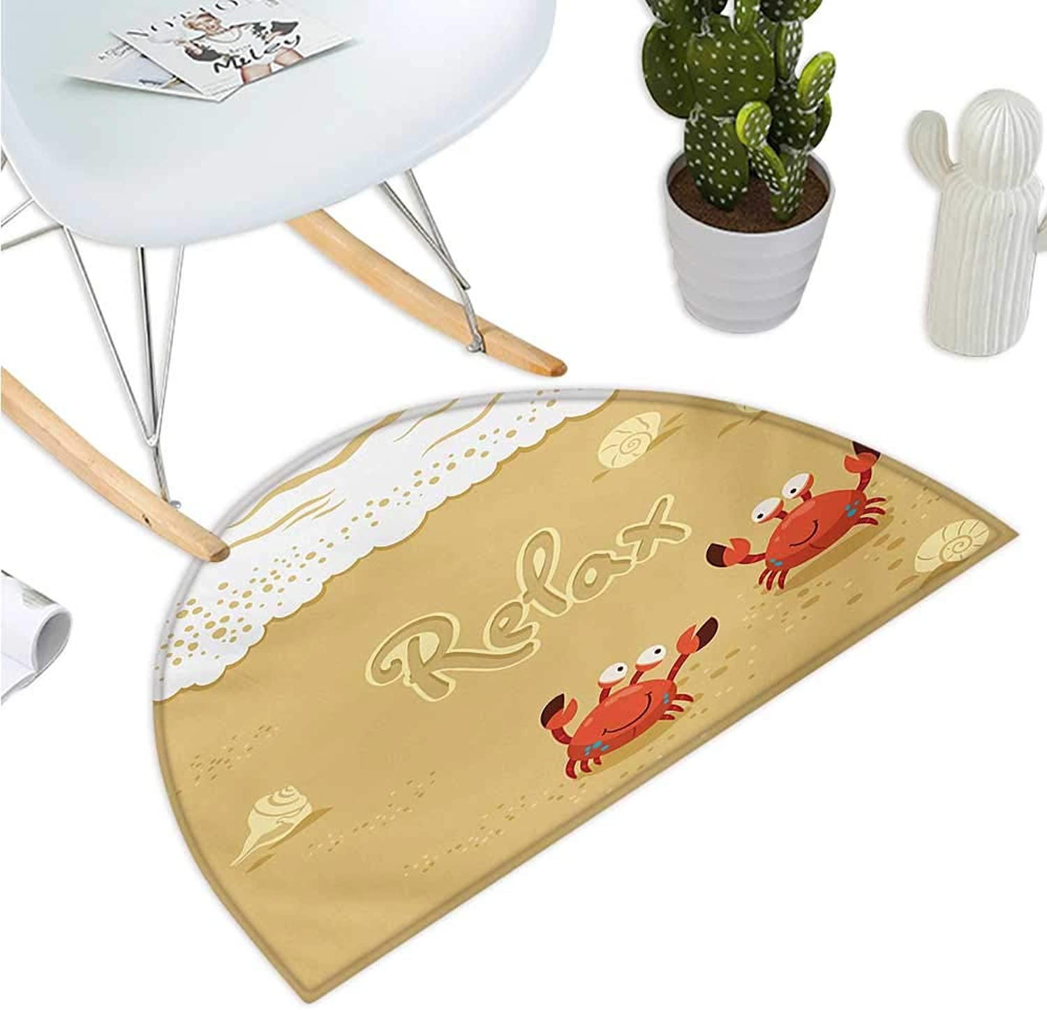 Crabs Semicircular Cushion Funny Summer Card with Cute Crabs on The Beach Holiday Vacation Theme Print Entry Door Mat H 39.3  xD 59  Sand Brown and White