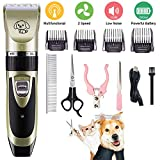Kozart All-in-1 Dog Clipper, Electric Cordless Pet Hair Trimmer for Dog Cat, Silent Rechargeable Pet Grooming Tool, Wireless Pet Clipper Grooming Kit with Scissor, Nail Clipper for Dog, Cat