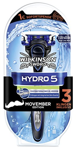 Wilkinson Sword Hydro 5 Razor with 3 Blades, Movember Edition