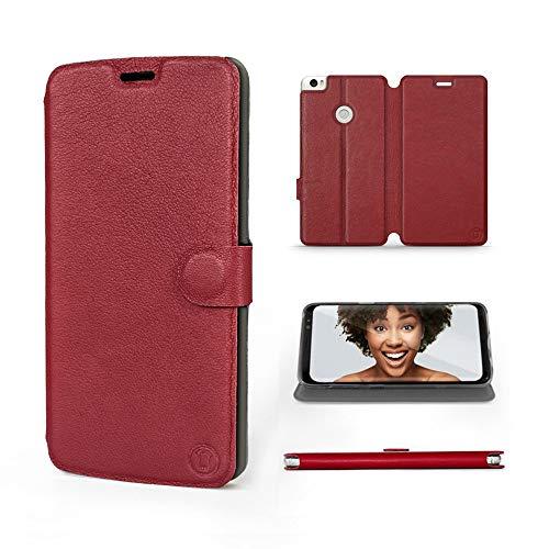 Mobiwear | Echt Lederhülle | Kompatibel mit Xiaomi Mi Max 2, Made in EU handyhülle, Slim Leather Hülle, Premium Flip Schutzhülle, Transparent TPU Silicon, Book Style, Tasche - Dunkelrotes Leder