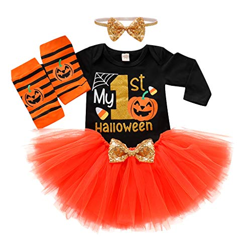 4PCS Newborn Baby Girl Halloween Costume Pumpkin Witch Romper Tutu Dress Outfits