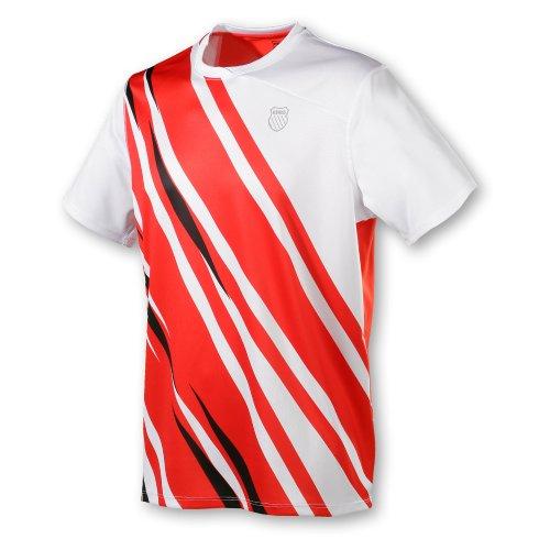 K-Swiss Camiseta de pádel para Hombre, tamaño L, Color Blanco/Fiery Rojo