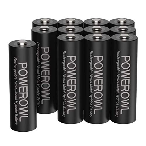 POWEROWL Rechargeable AA Batteries 2800mAh High Capacity Double A Batteries 12V NiMH Low Self Discharge Pack of 12