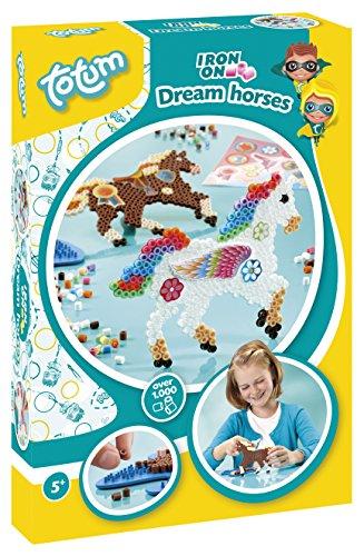 Totum Creativity Bastel-Set-Dreamhorses: Bügelperlenpferde mit über 1000 Bügelperlen, Stecktafel und vielen Motivstickern