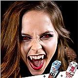 FXCONTACTS Großes Karneval Set, Red Lunatic Kontaktlinsen + Behälter + Vampirzähne + Kunstblut Kapseln, Horror Halloween Kostüm Damen Herren