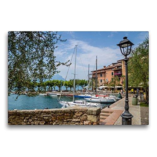 Premium Textil-Leinwand 75 x 50 cm Quer-Format GARDASEE Torri del Benaco | Wandbild, HD-Bild auf Keilrahmen, Fertigbild auf hochwertigem Vlies, Leinwanddruck von Melanie Viola