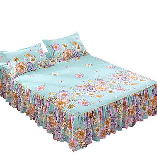 SEXWOMEN Sábanas de algodón de Moda romántica Faldas de Cama Antideslizante Polvo con Volantes tamaño Queen Colcha Falda de Cama sábanas para el hogar + 2 Fundas de Almohada