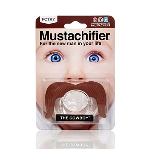Hipsterkid BPA Free Mustachifier for Infants & Toddlers 0-6 Months, Baby Orthodontic Mustache Pacifier in Cowboy