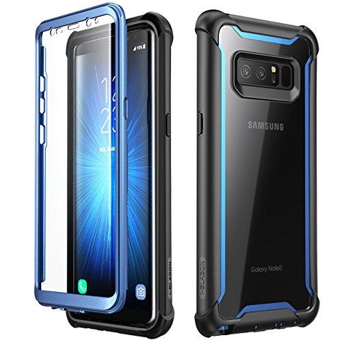 i-Blason Hülle für Samsung Galaxy Note 8 Hülle 360 Grad Handyhülle Bumper Hülle Transparent Schutzhülle Clear Cover [Ares] mit integriertem Bildschirmschutz, Blau - 6.7 Zoll