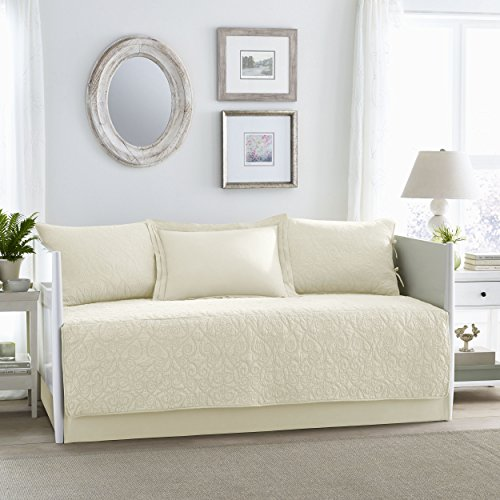 Laura Ashley Felicity 5 Piece Quilt Set, Ivory, Daybed