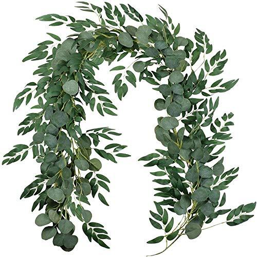 XinLuMing Künstliche Pflanze Faux Silberdollar Eukalyptus und Willow Vines Zweige Blätter Garland String Hochzeit Arch Swag Hintergrund Garland Türen Grün Garland Tischläufer Pflanze (Color : Green)