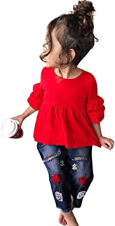 Baby Girls Clothes Set Toddler Kids Frill T Shirt Tops+Embroidery Denim Pants Outfit 2Pcs