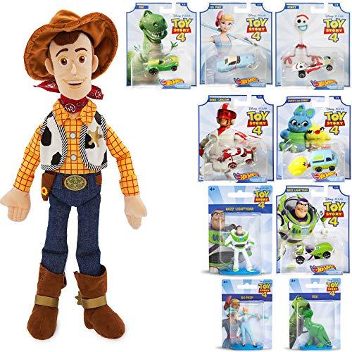 Cowboy Toy Story Adventure Character Car Bo Peep Bundled with Forky Wacky Racer + Rex Dinosaur + Ducky & Bunny Wagon + Duke Caboom Van Buzz Lightyear + Woody 18