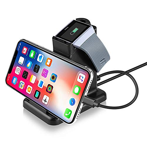 Moutik Fitbit Ionic Charging Stand: 2 in 1 Fitbit Ionic Charger Station & Phone Charging Station for Fitbit Ionic 3.3ft USB Charging Cable, Phone Charger Stand for iPhone, Samsung, LG, All Smartphone