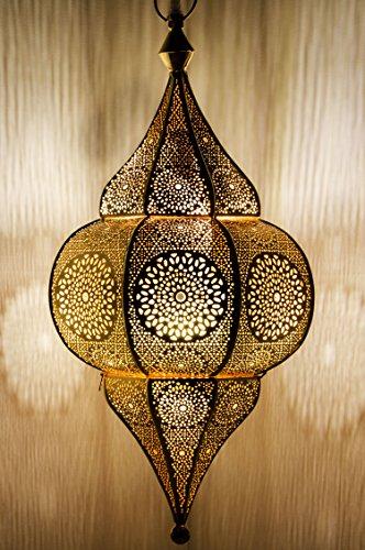 Orientalische Lampe Pendelleuchte Gold Malha 50cm E14 Lampenfassung | Marokkanische Design Hängeleuchte Leuchte aus Marokko | Orient Lampen für Wohnzimmer Küche oder Hängend über den Esstisch