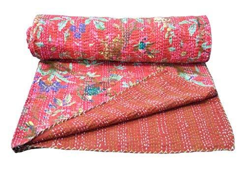 Yuvancrafts Colcha Kantha de algodón indio con estampado de pájaros y flores