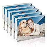 Picture Frame, TWING 5x7 Inch 5 Pack Acrylic Photo Frames Horizontal Magnet Double Sided Picture Frame Set with Microfiber Cloth,12 + 12MM Thickness Clear Picture Frame Desktop Display