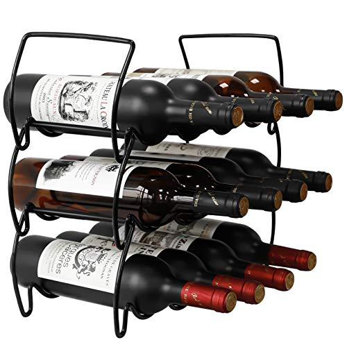 3-Tier Stackable Wine Rack Countertop Wine Holder Stands for Counter Metal Wine Bottle Storage Racks 12 Bottle Wine Cellar Racks Tabletop Free Standing Wine Bottle Holder Display Shelf for Bar Cabinet