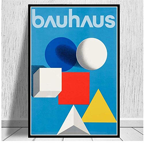 YaShengZhuangShi Pintura sobre Lienzo Carteles e Impresiones Bauhaus Ausstellung 1923 Weimer Exhibition Poster Wall Art Picture for Room Home Decor 60x80cm Sin Marco