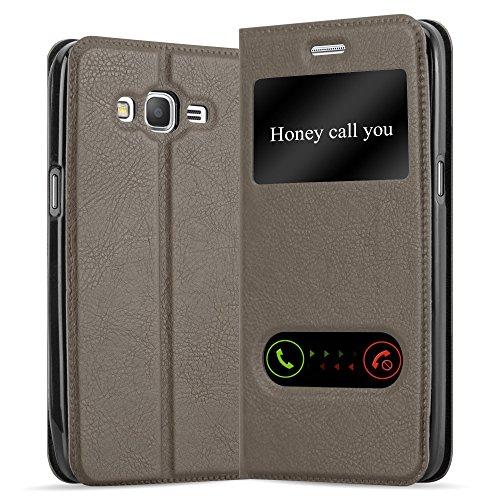 Cadorabo Hülle für Samsung Galaxy Grand Prime - Hülle in Stein BRAUN – Handyhülle im Standfunktion und 2 Fenstern (View Design) - Case Cover Schutzhülle Etui Tasche Book Klapp Style