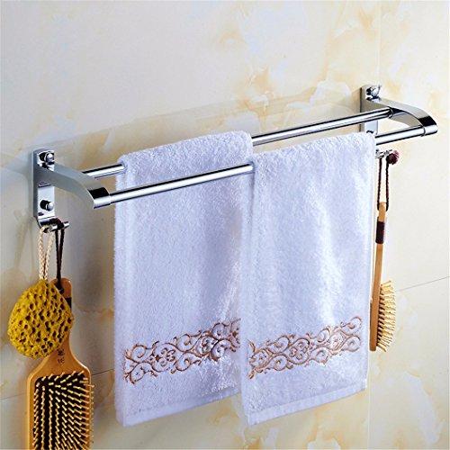 Handdoekhouder voor handdoekdroger, voor wastafels, badkamer, plank, kledinghanger, dubbele stang, geperforeerd, roestvrij staal, bevestiging aan de muur met handdoekhouder en accessoires voor de badkamer