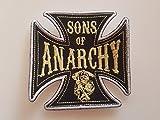 # 124 AUFNÄHER Parche bordado de Sons of Anarchy, tamaño cruzado, aprox. 10 x 10 cm.