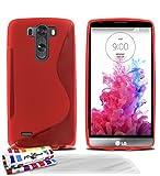 Carcasa Flexible Ultra-Slim LG G3 S (LG G3 MINI) ['Le S' Premium] [Rojo] de MUZZANO + 3 Pelliculas de Pantalla 'UltraClear' + ESTILETE y PAÑO MUZZANO REGALADOS - La Protección Antigolpes ULTIMA, ELEGANTE Y DURADERA para su LG G3 S (LG G3 MINI)