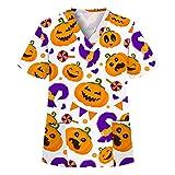 Damen Pflege Schlupfhemd Uniform Kurzarm Krankenpfleger Berufsbekleidung mit Motiv Schlupfkasack Kasack mit 2 Taschen V-Ausschnitt T Shirts Tops
