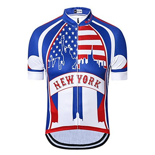 Weimostar Men's Cycling Jersey Bike Jersey Short Sleeve Cycling Jacket Breathable Quick Dry New York Size XL