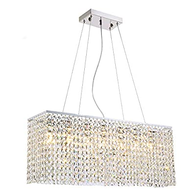"""Yue Jia Luxury Contemporary Modern Linear Rectangular Dining Room Pendant Light Flush Mount Crystal Chandelier Lighting Fixture L31.5""""xW7.8""""xH11.8"""""""