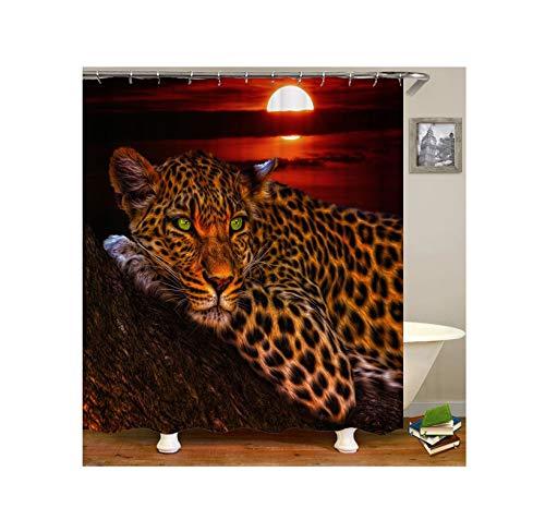 Knbob Polyester Duschvorhang Leopard Sonnenuntergang Badewanne Vorhang 165x180CM mit 12 Duschvorhangringen