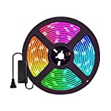 Ofgcfbvxd Tira De LED Inteligente Epoxy Impermeable Colorido Flexible Tira de luz 600 Luces Control Remoto 10m Conjunto Tira de luz LED Decoración Interior y Exterior (Color : Black)