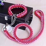 FHNLKFS Nylon Hochwertige Hundehalsband-Halsbänder Hundekatzen-Laufband-Leinen für kleine Chihuahua-rot Rosa_XL