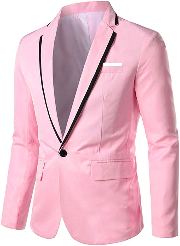 WUAI Mens Casual Dress Tuxedo Jackets Regular Fit Lightweight One Button Slim Fit Party Blazer Sport Coat Suit Jacket