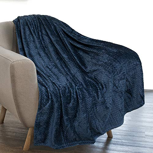 PAVILIA Luxury Flannel Fleece Blanket Throw Navy Blue | Soft Decorative Jacquard Weave Microfiber Throw for Bed Sofa Couch | Velvet Textured Leaves Pattern | Lightweight Plush Cozy Warm | 50'x60'