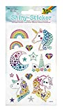 folia Shiny Sticker, Unicorn, 15 pegatinas de brillantes de colores, en diferentes diseños, fácil de quitar de la lámina, carbón, talla única